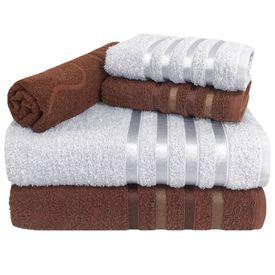 toalha de banho jogo de banho 5 pecas 2 banho 2 rosto 1 piso marrom e branca p 1581601121900