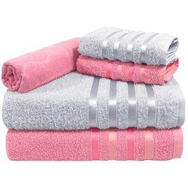 toalha de banho toalha de banho monaco jogo com 5 pecas 2 banho 2 rosto 1 piso rosa e branca p 1581617425630