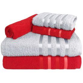 toalha de banho toalha de banho monaco jogo com 5 pecas 2 banho 2 rosto 1 piso vermelha e branca p 1581591009307
